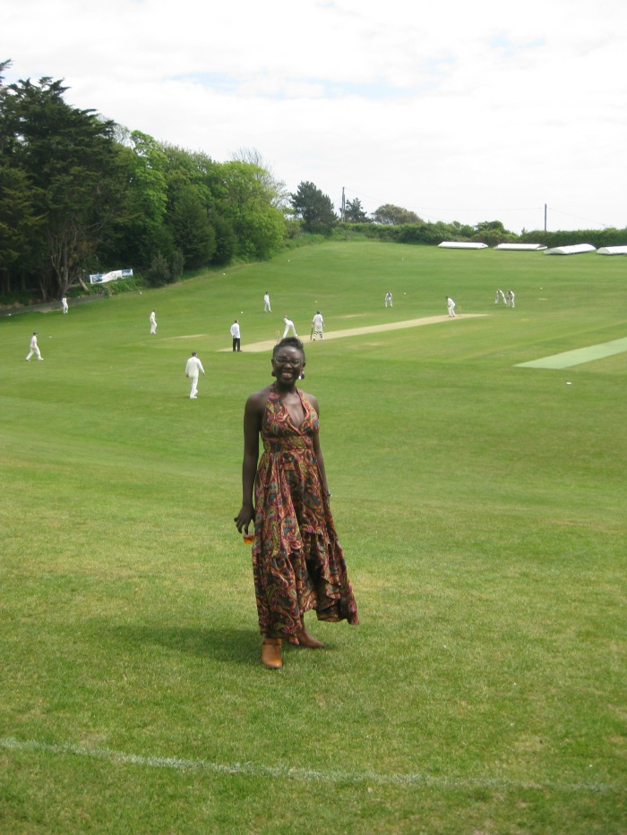 On the cricket field at one of my best friend's wedding on the Isle of Wight.