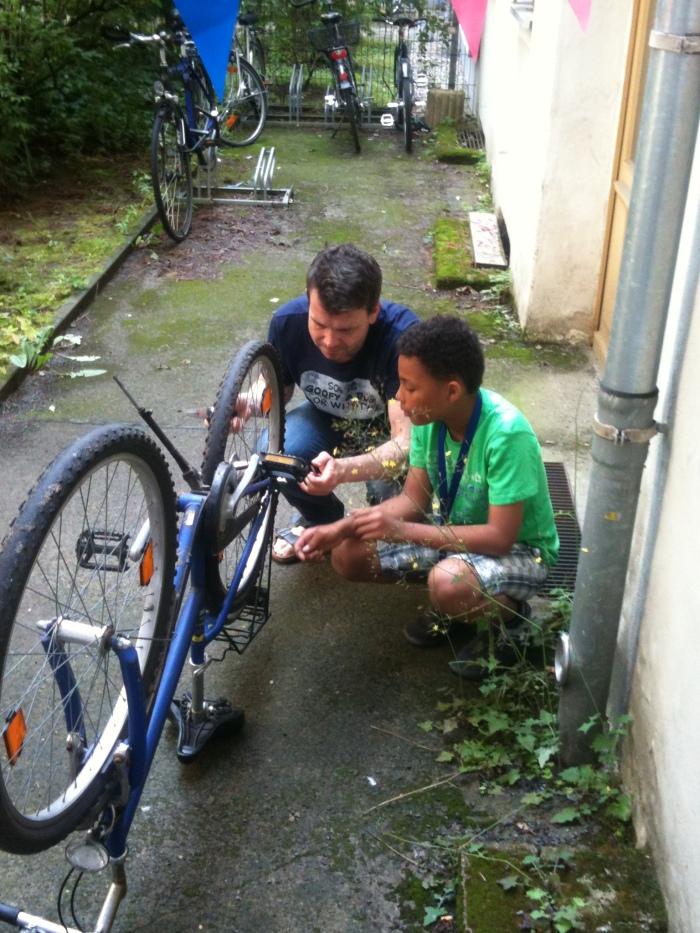 Fixing bikes. As boys do!