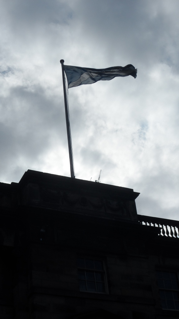 The Scottish flag.