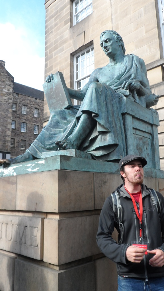 The statue of David Hume with Ben.