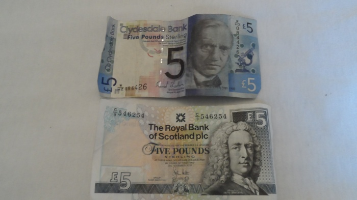 Scottish money is 1:1 in the UK.