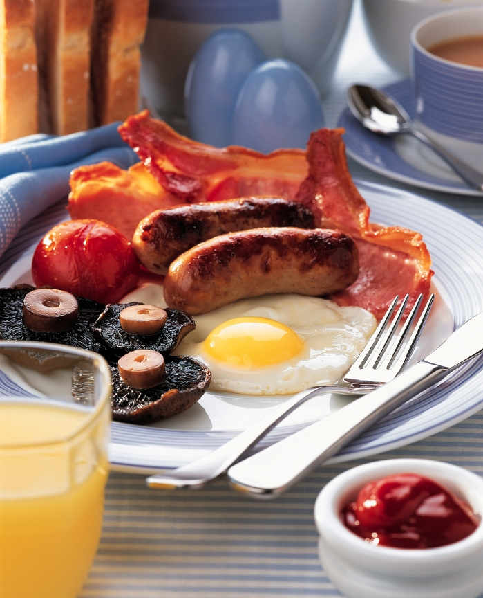 "Get yourself a full English breakfast or an all-day breakfast, otherwise known as a ""a fry up."" Yum!"