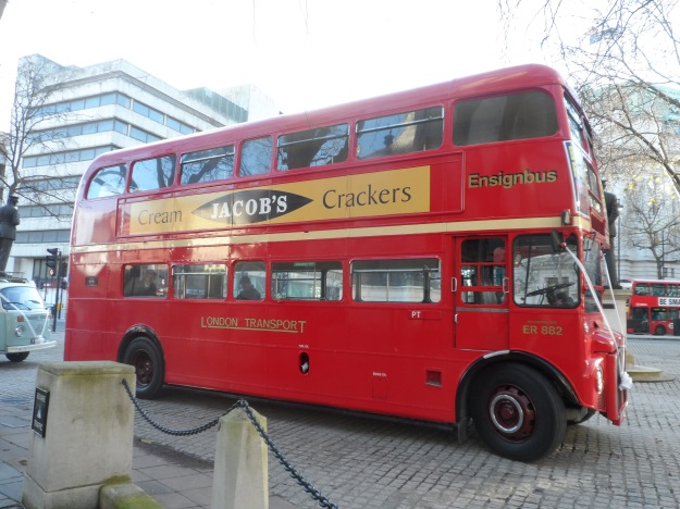 A red double-decker London bus.