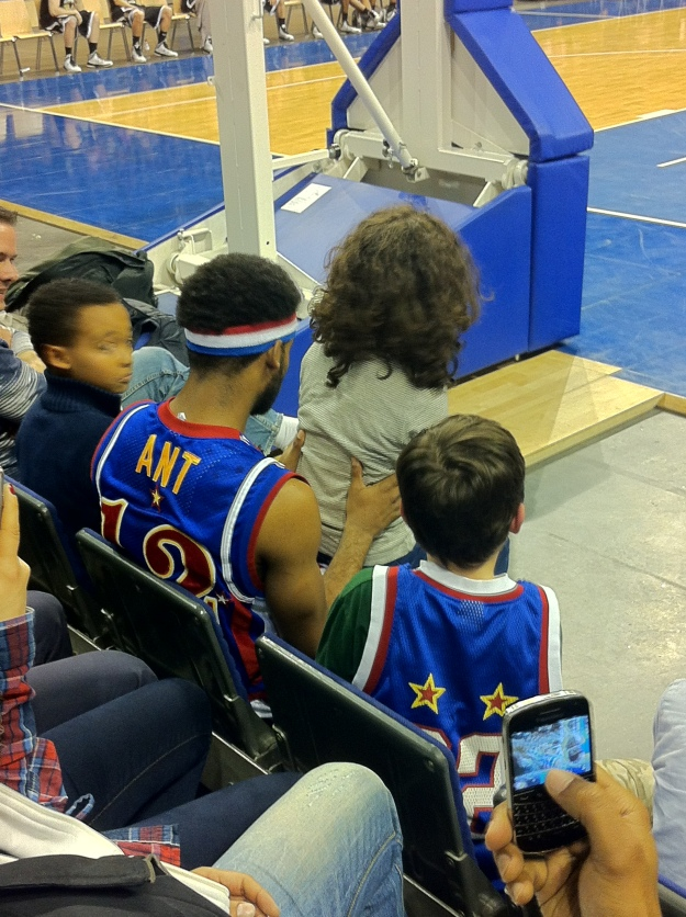 "You can see how close we were to the front.  Some of the younger Scouts with ""Ant"" at the Harlem Globetrotters - Basketball."