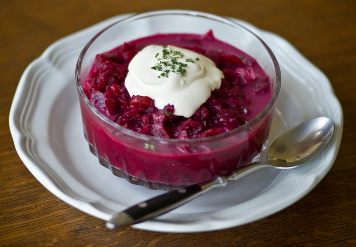Polish Borscht with a dollop of sour cream. ©holisticsquid.com