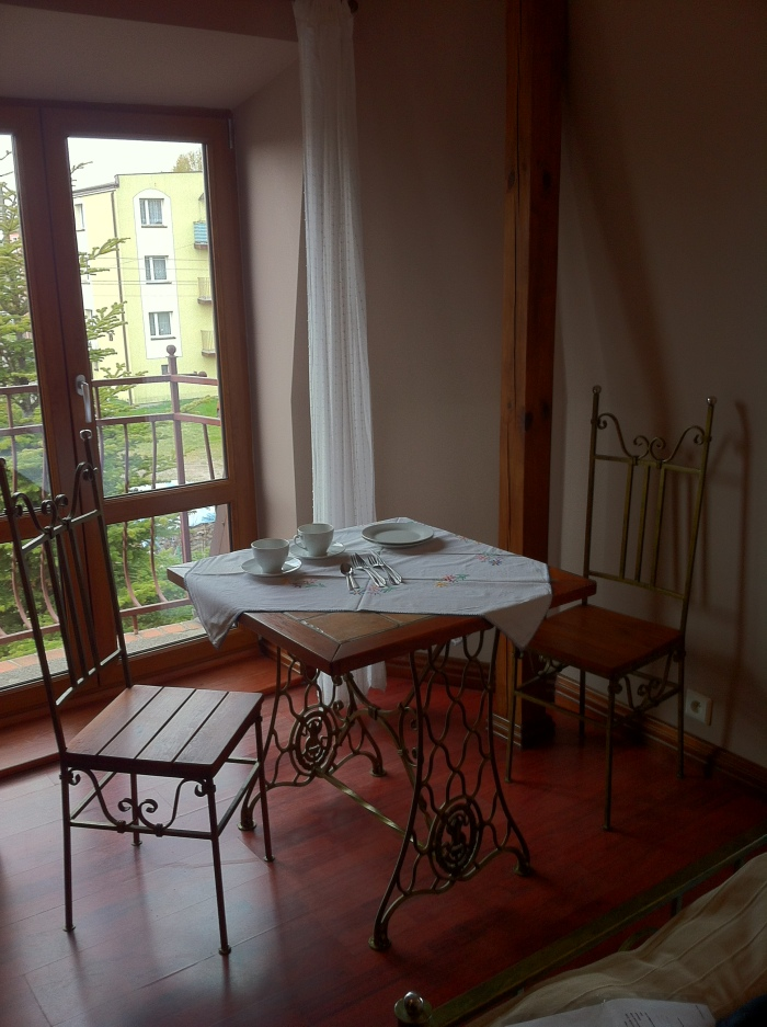 The dining table at the Villa Akacja, Leba.