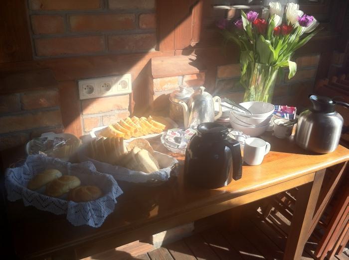 Breakfast at the Villa Akacja, Leba.