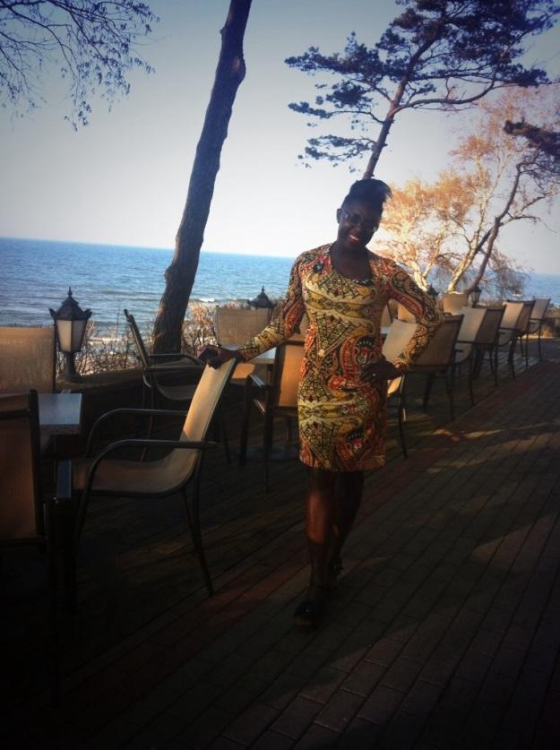 On the beach patio of the Hotel Neptun, Leba.