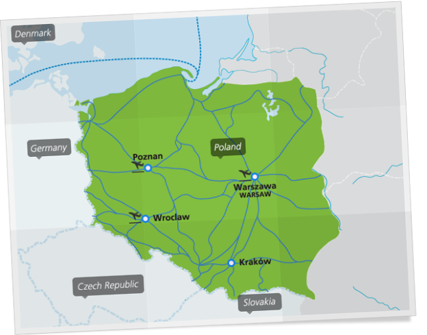 Map of main train connections in Poland. Courtesy of Eurail.com
