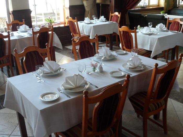 The dining room of the Hotel Neptun in Leba.