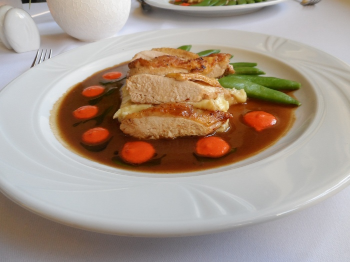 Guinea fowl breast with French beans and pureed carrots in red-current sauce. Yum!