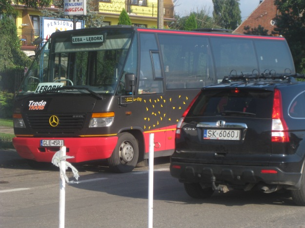 Taking the Polish mini-bus on the Leba-Lebork route.