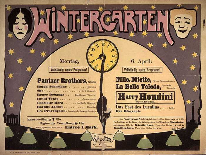 Houdini Wintergarten Berlin. Many, many years ago!