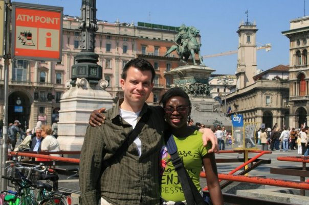 The Music Producer and I in Milan, Italy.