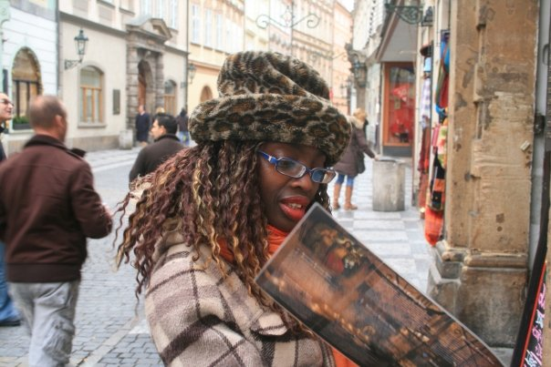 In Prague reading something and looking all serious, but not completely serious!