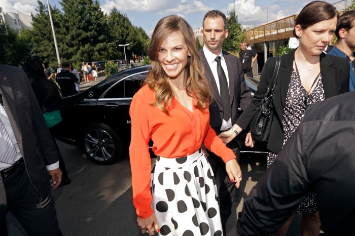 Hilary Swank at the  Mercedes-Benz Fashion Week Berlin.