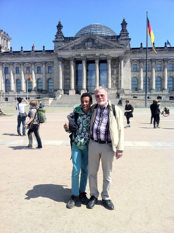 """""""The Tall Young Gentleman"""" with his grandfather outside the Reichstag or the German Parliament."""