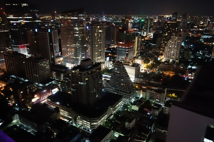 A breath-taking panoramic view of Bangkok at Night at Cloud 47 sky bar.