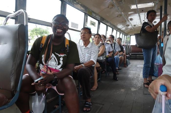 On a rickety bus in Bangkok!