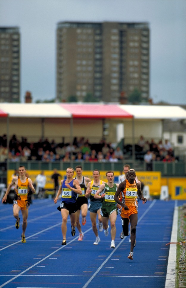 Athletes at the Commonwealth Games in Glasgow, running for their country.