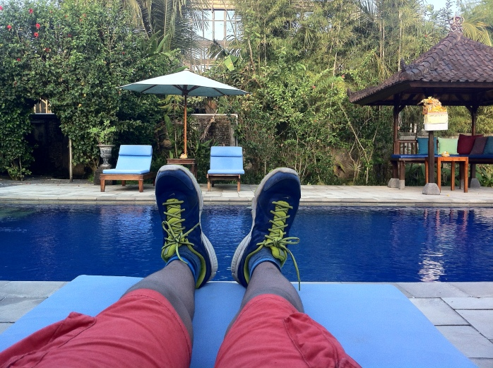 """The Tall Young Gentleman"" living the good life and relaxing by the pool in Bali, Indonesia."