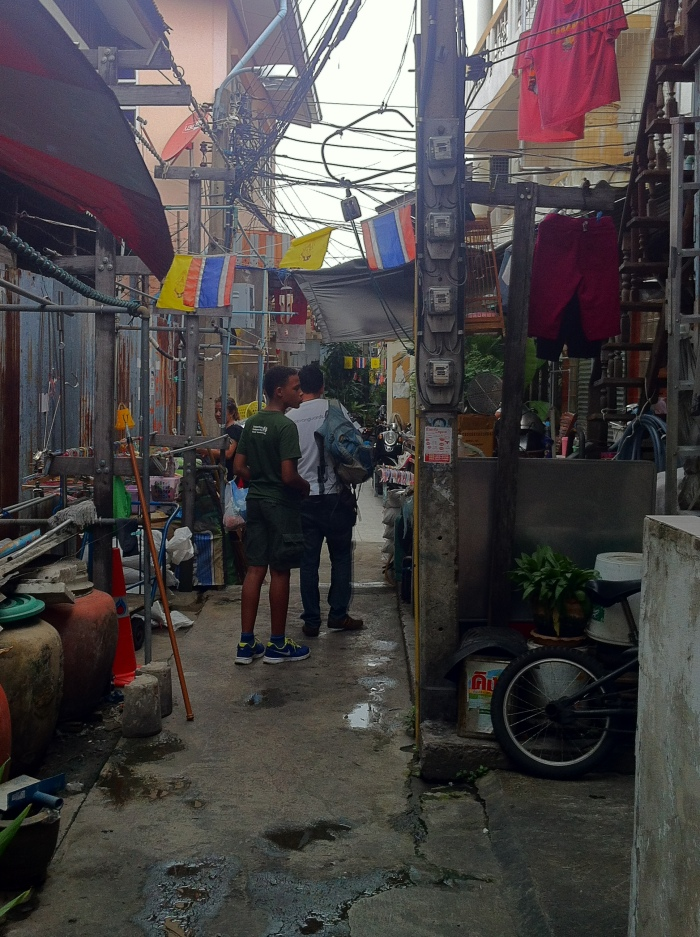 Through the back streets of Chinatown in Bangkok, Thailand.