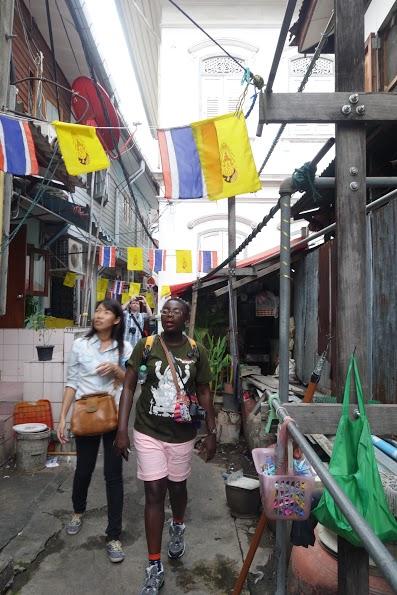 Walking through the backstreets of Bangkok.