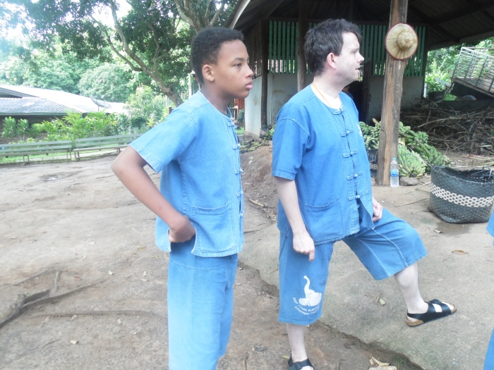 """The Tall Young Gentleman"" and the Hospital Orderly at Baanchang Elephant Park!"