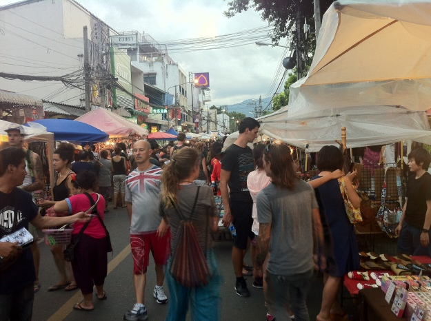 Everyone's here at the Sunday Night Market in Chiang Mai!