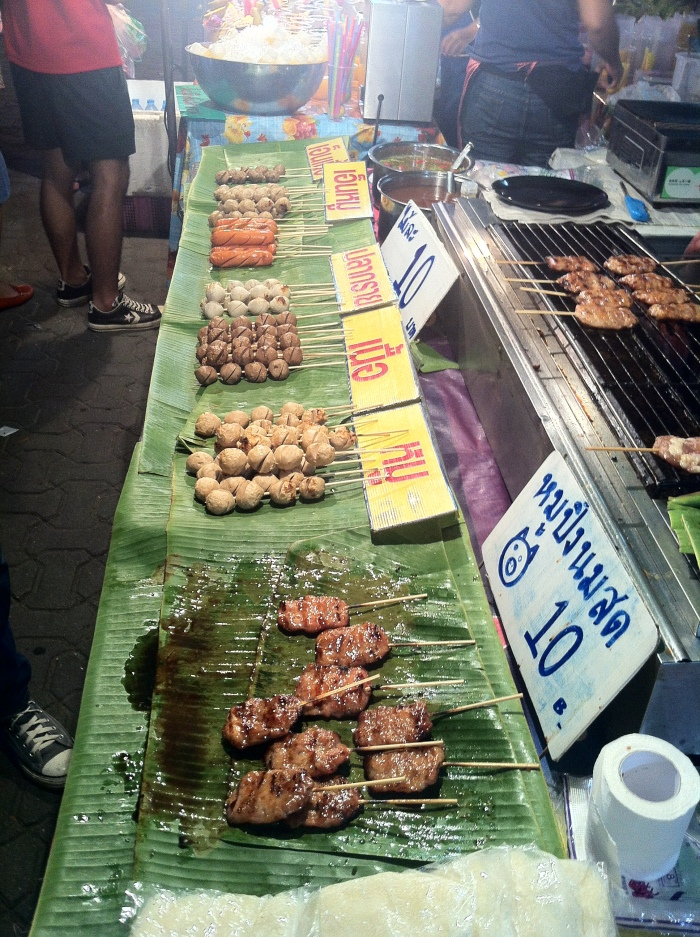 A variety of skewered meat at only 10 Baht or 30 cents each!