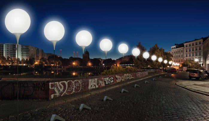 Visualization of the LICHTGRENZE or Light Installations at Engelbecken  © Kulturprojekte Berlin WHITEvoid / Christopher Bauder, Photo@ Daniel Büche (www.berlin.de/2013)