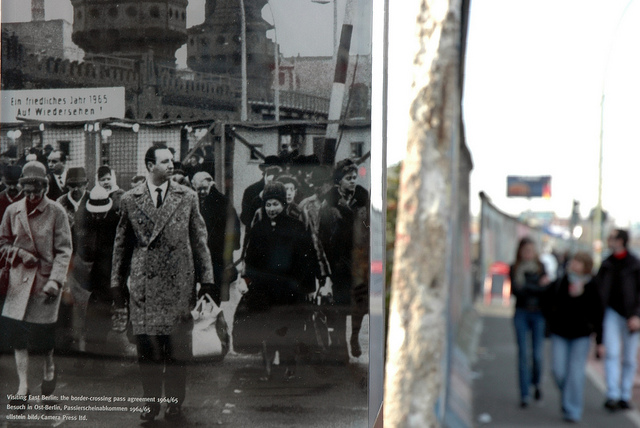 Two sides and periods, of the Berlin Wall.