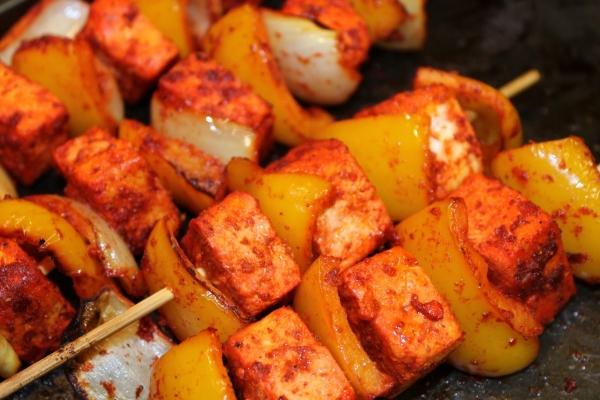 More kebabs! Bring me more vegetarian tofu kebabs!