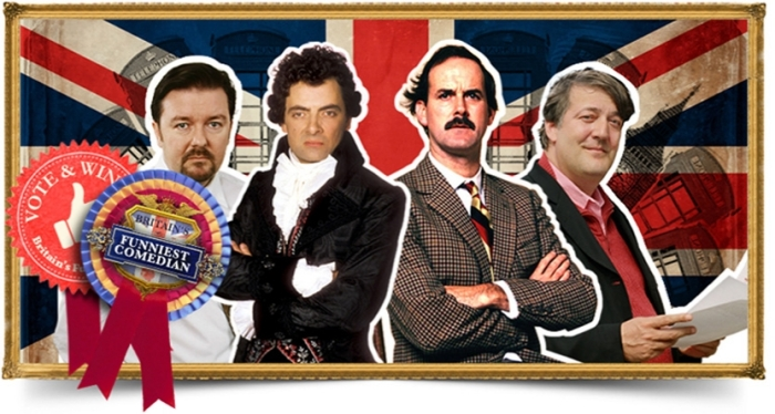 Ricky Gervais (The Office), Rowan Atkinson (Blackadder), John Cleese (Fawlty Towers) & Stephen Fry (as Stephen Fry)!      Photo @BBC Entertainment