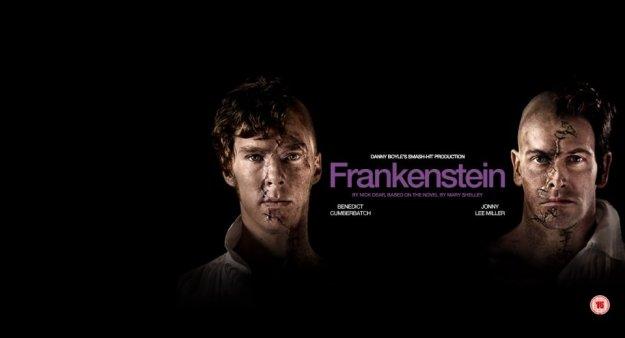 The Creature (Benedict Cumberbatch) and Victor Frankenstein (Jonny Lee Miller).