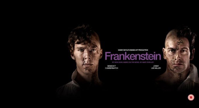 The Creature (Benedict Cumberbatch) and Victor Frankenstein (Jonny Lee Miller).