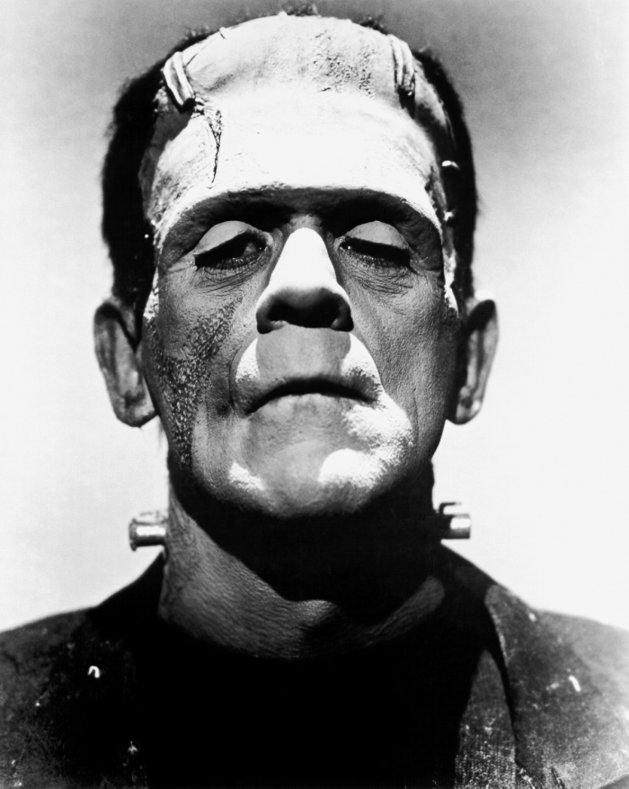 "Boris Karloff from the very familiar image of the monster in the 1935 American horror film ""The Bride of Frankenstein."""