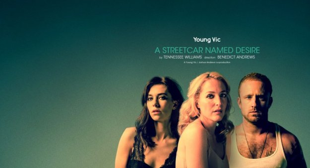 Vanessa Kirby, Gillian Anderson, and Ben Foster in A Streetcar Named Desire. National Theatre Live.