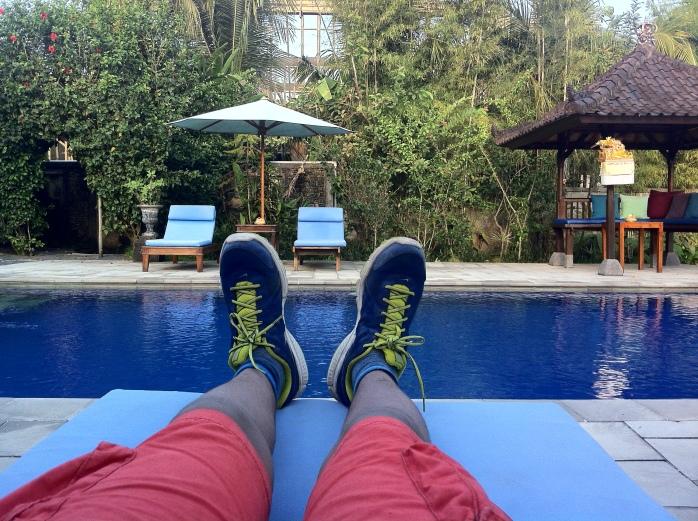 Enjoying the swimming pool at Alam Shanti in Ubud, Bali.