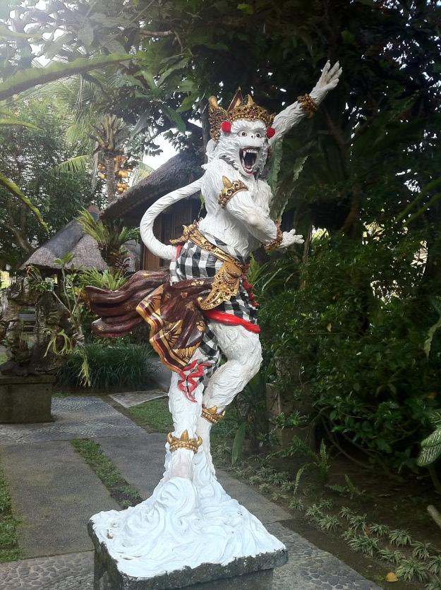 Staring at Monkey Gods in Ubud, Bali.