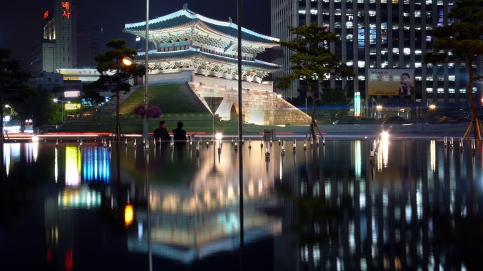 The Sungnyemun or Namdaemun at night. The historic gate located in the heart of Seoul, Korea.