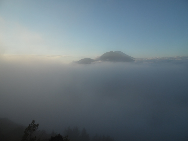 The heavens began to open on Mount Batur.