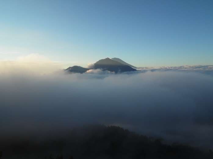 The heavens began to open on Mount Batur. In Bali.