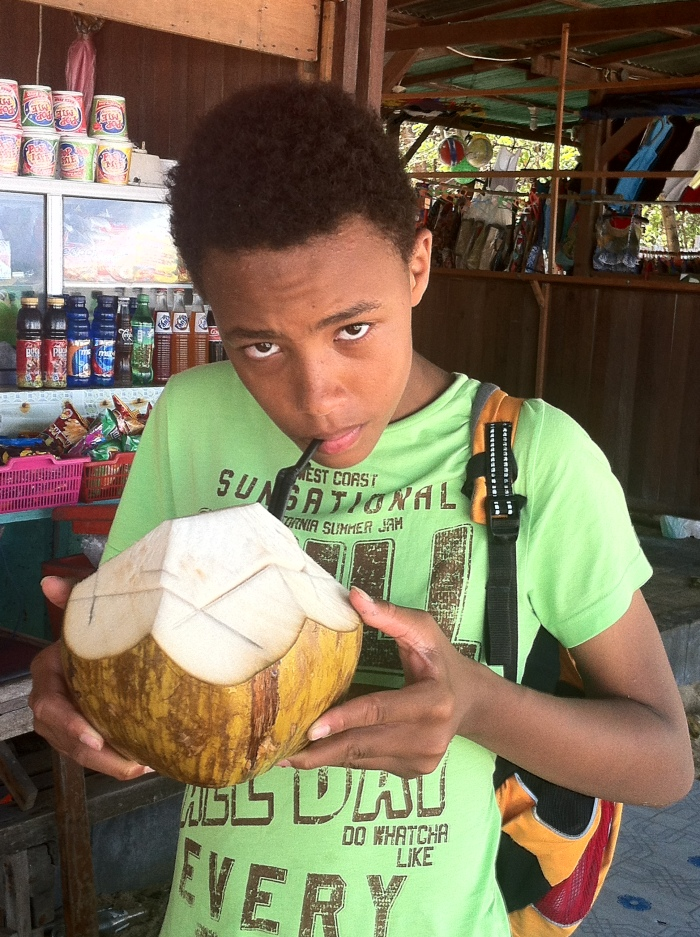It's coconut time in Bali. Not for me of course!