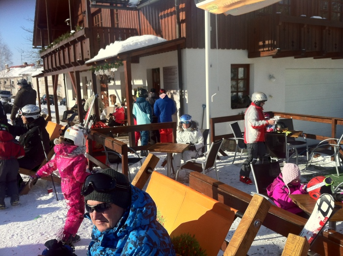 At the ski hut.