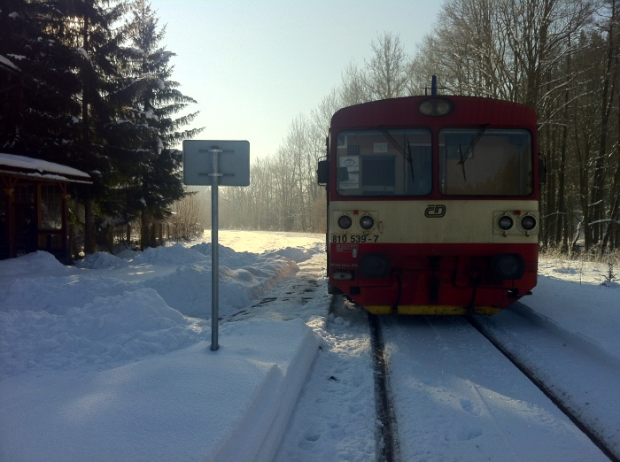 Our tiny Czech train in the middle of no-where!