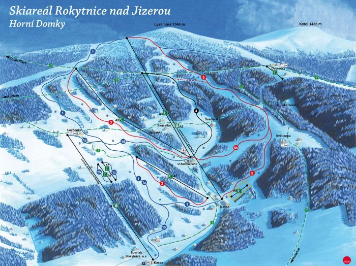 The ski map of Rokytnice nad Jizerou.
