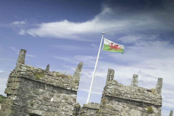 The Welsh flag on Conwy Castle, Wales.