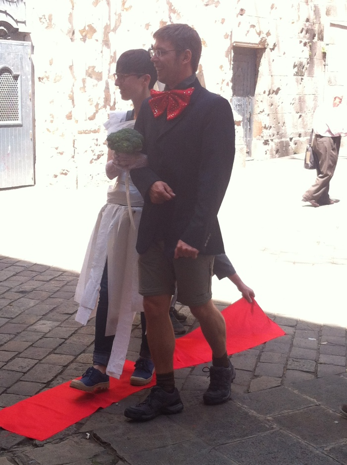 "No tour guide but very creative students in Barcelona, Spain. Getting ""married!"""