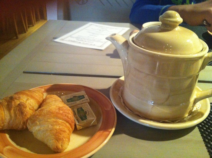 A welcome pot of tea at the Hotel St. Petersbourg.